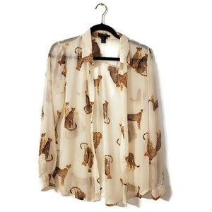NWOT Forever 21 Cheetah Sheer long sleeve blouse